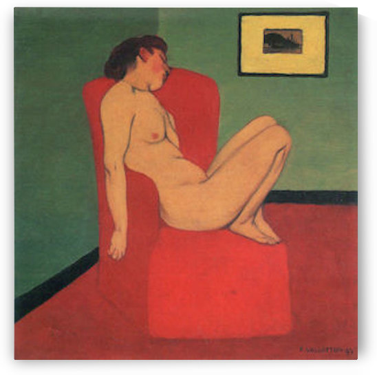 Nude in a Red Armchair by Felix Vallotton by Felix Vallotton
