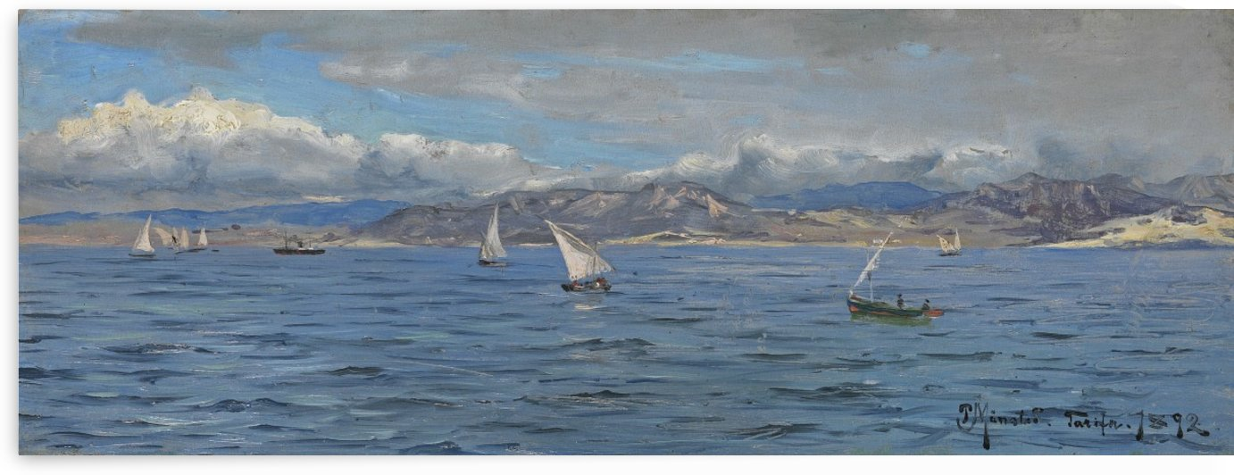Sailboats in Gibraltar, 1892 by Peter Mork Monsted