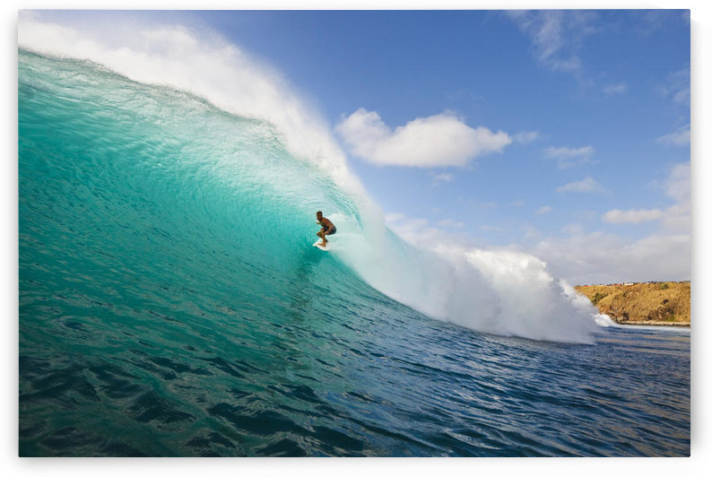 Hawaii, Maui, Kapalua, Surfer Tides Perfect Wave At Honolua Bay, View From Water Level Into The Barrel by PacificStock