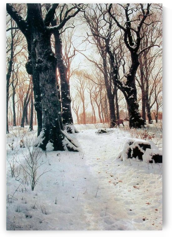 Winter landscape with several trees by Peter Mork Monsted