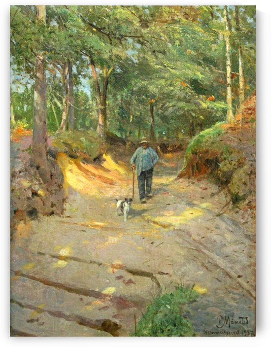 Taking the dog to a walk in the forest by Peter Mork Monsted