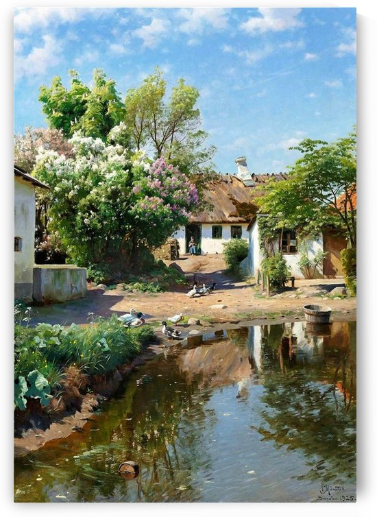 Spring day at a thatched house with blooming lilacs by Peter Mork Monsted