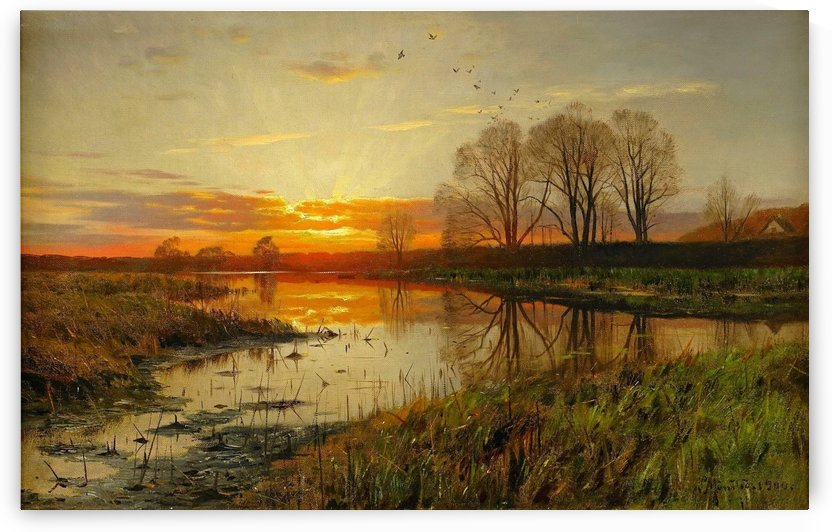 Landscape with sun going down over a lake by Peter Mork Monsted