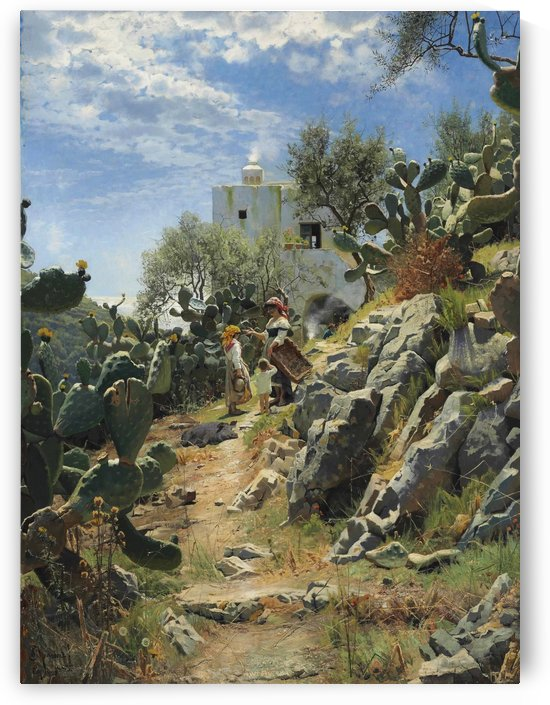 At noon on a cactus plantation in Capri by Peter Mork Monsted