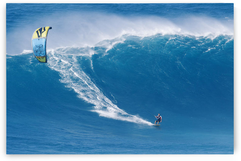 Hawaii, Maui, Peahi, Kitebaorder Rides A Large Wave At Peahi, Also Know As Jaws. For Editorial Use Only. by PacificStock