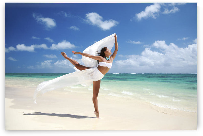 Hawaii, Oahu, Lanikai Beach, Beautiful Female Ballet Dancer On Beach With White Flowing Fabric. by PacificStock