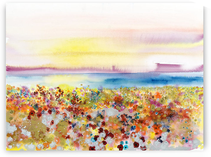 Field Of Joy, Abstract Landscape Of Bejeweled Field Of Flowers (Watercolor Painting). by PacificStock