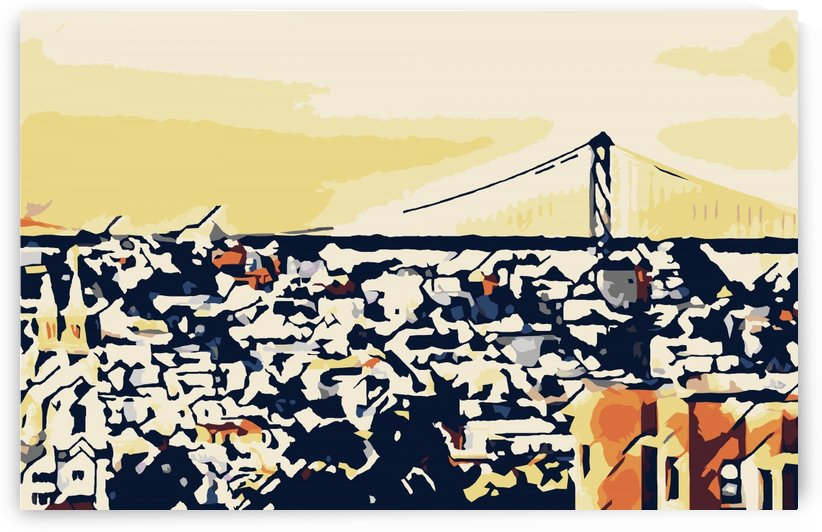 bridge and buildings in the city geometric abstract background by TimmyLA