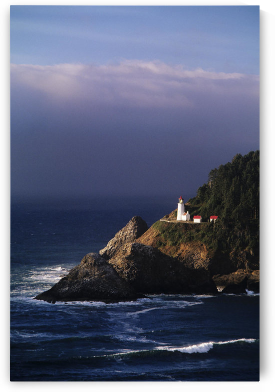 Oregon, Devils Elbow State Park, Heceta Head Lighthouse Overlooking Ocean And Waves. by PacificStock