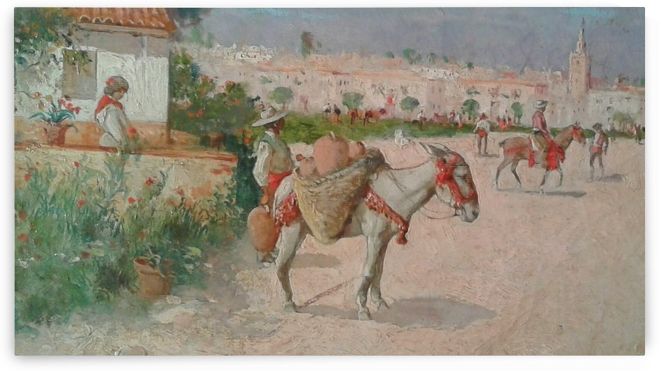 Scene with people and horses outside the city by Jose Moreno Carbonero