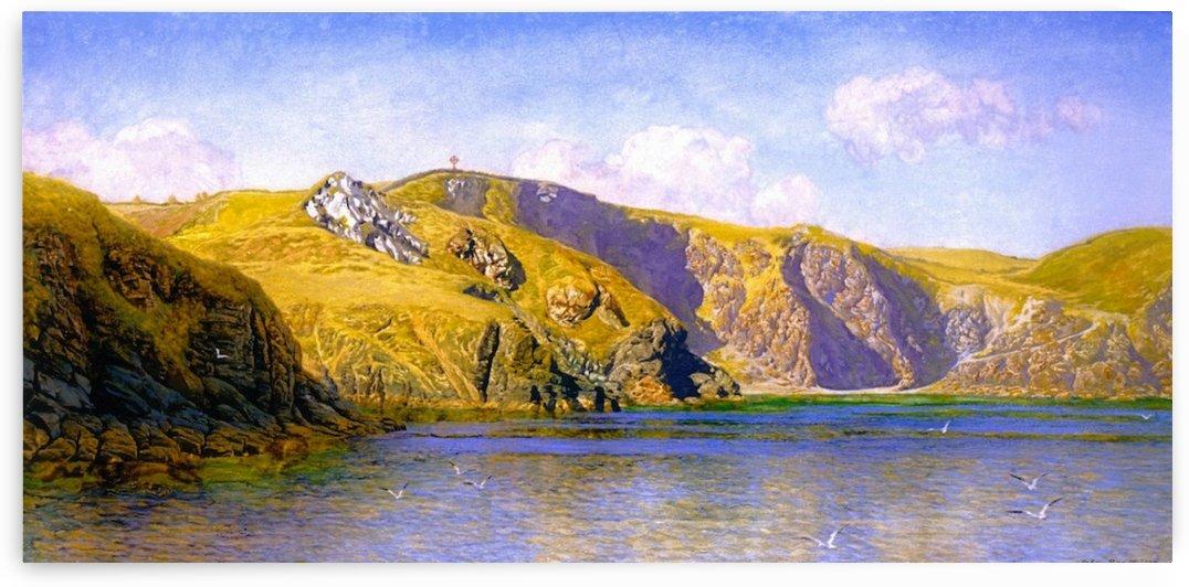 Coast scene with calm sea by John Brett