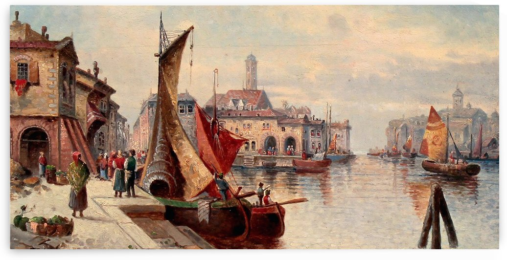 Fishermen on the harbour of Venice by Karl Kaufmann