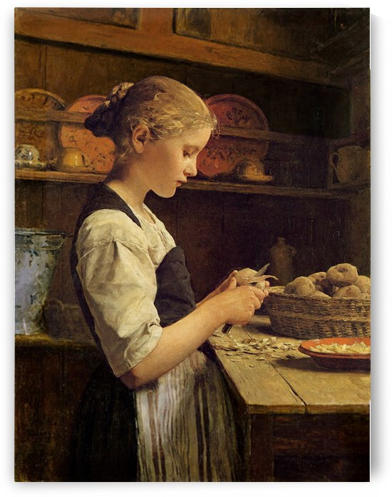 Girl peeling potato by Anker Albert