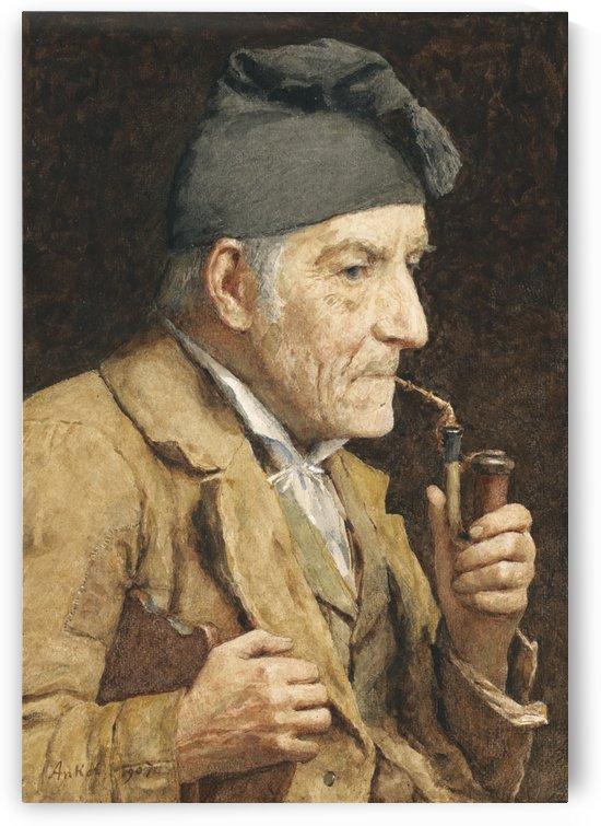 An old man smoking by Anker Albert