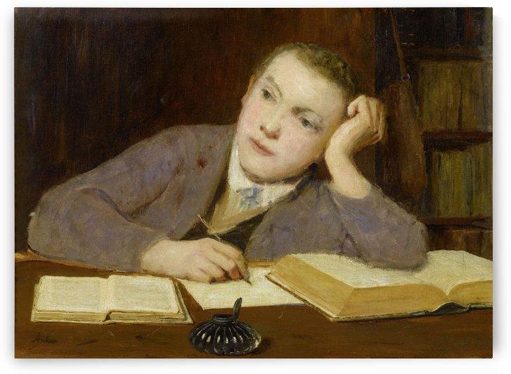 Schreibender Knabe 1908 by Anker Albert