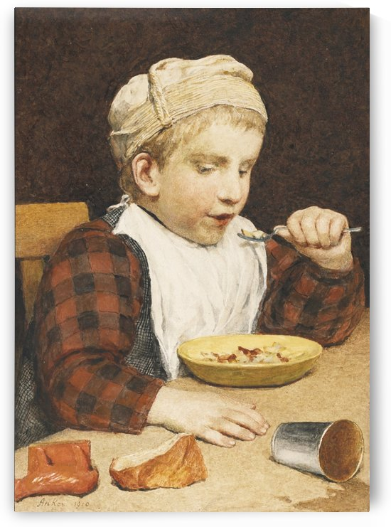 A young boy eating by Anker Albert
