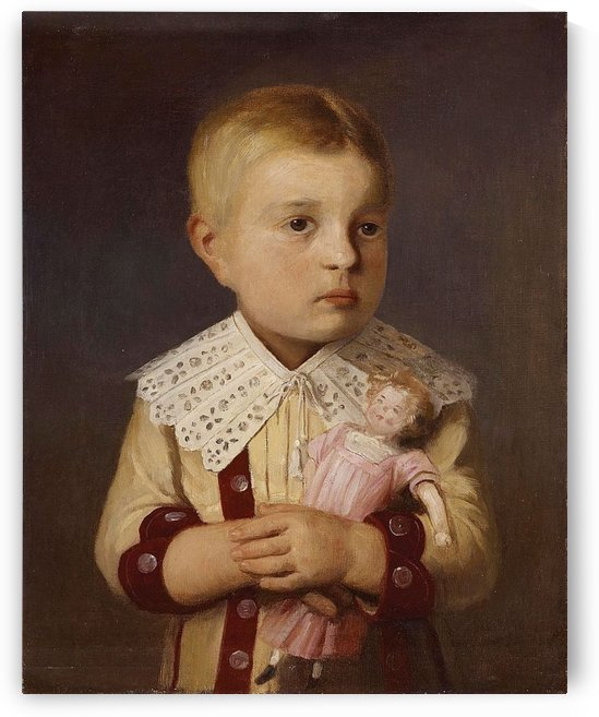 Kind mit Puppe by Anker Albert