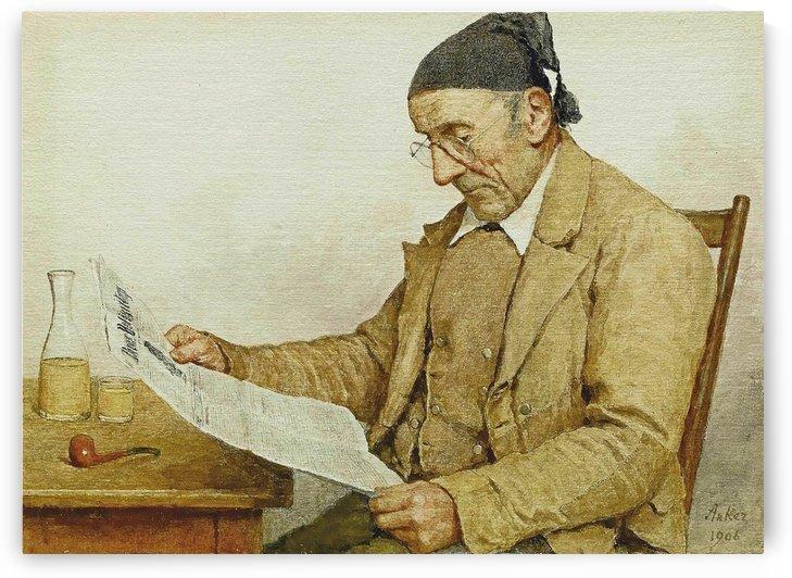 Grossvater mit Zeitung, 1906 by Anker Albert