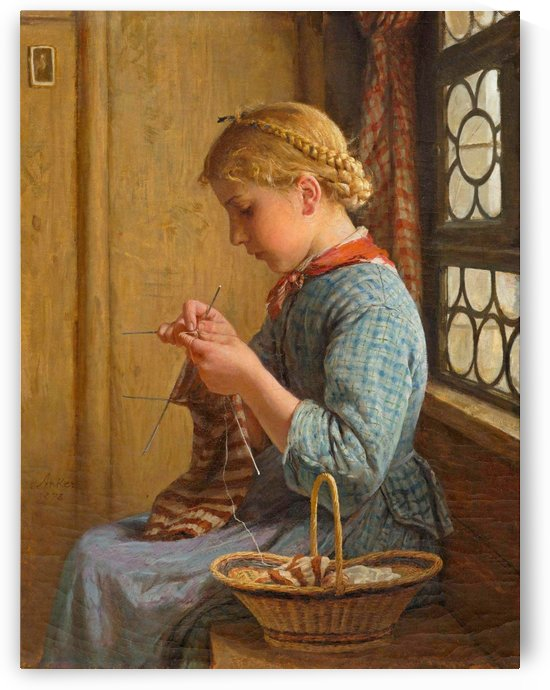 A young girl knitting by Anker Albert