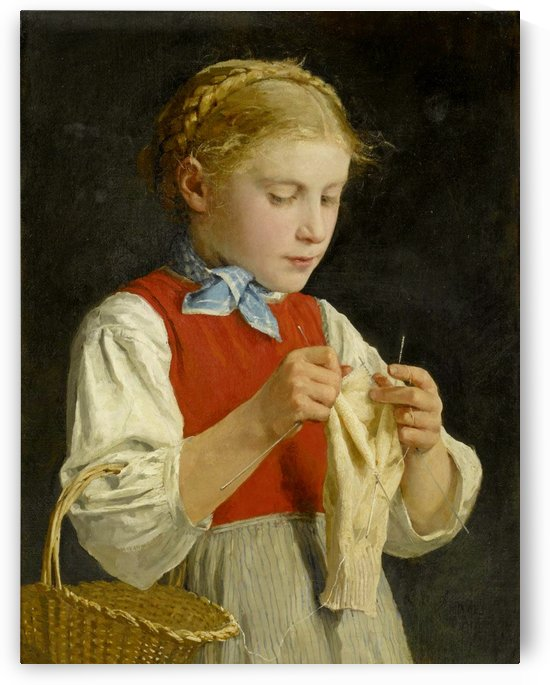 Young Girl Knitting, 1884 by Anker Albert
