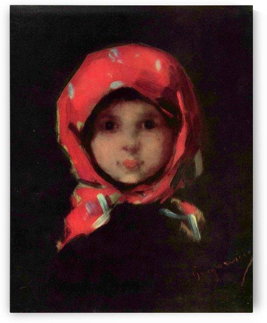 Portrait of a little girl by Anker Albert