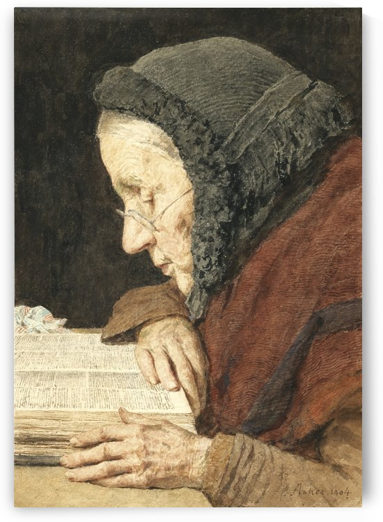 An old woman reading by Anker Albert