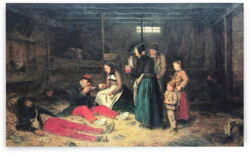 People resting in the barn by Anker Albert