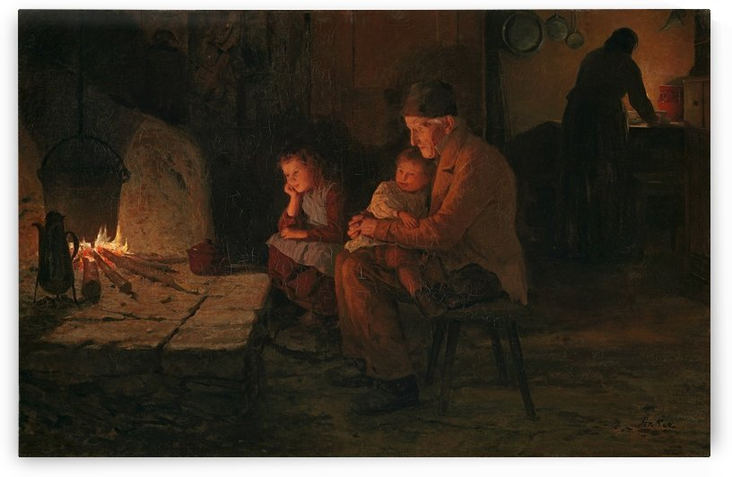 A family by the fireplace by Anker Albert
