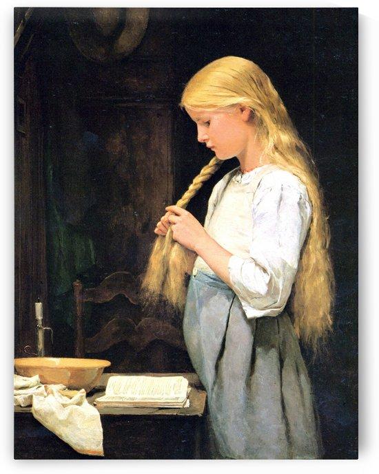 Madchen die Haare flechtend by Anker Albert