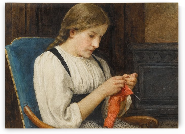 A girl knitting a red sock by Anker Albert