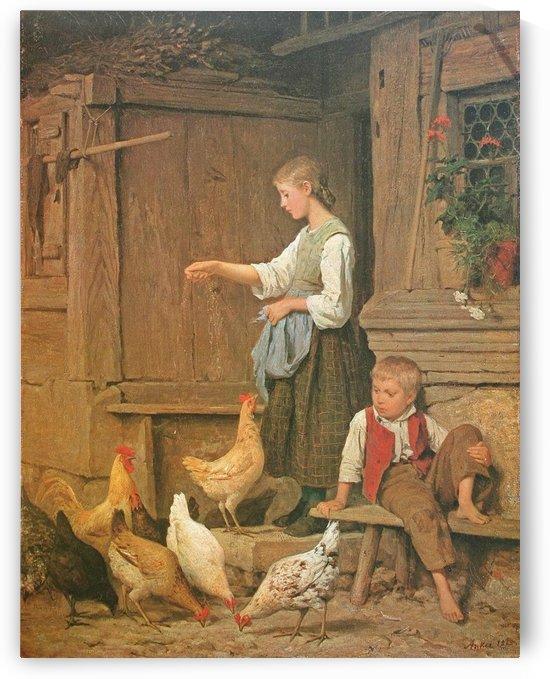 Jeune fille nourrissant les poules, 1865 by Anker Albert
