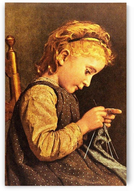 Little girl knitting by Anker Albert