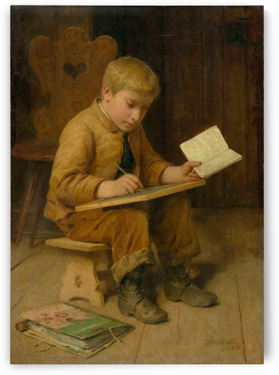 A young boy learning by Anker Albert