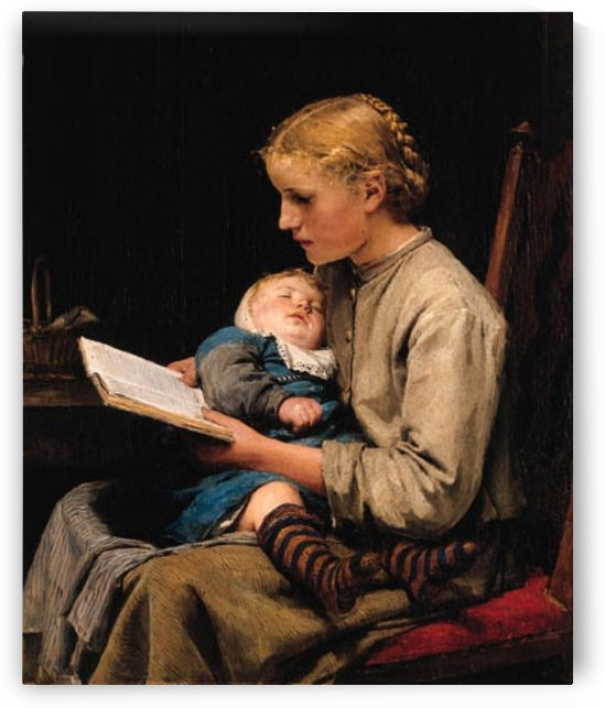 A girl reading to her infant by Anker Albert