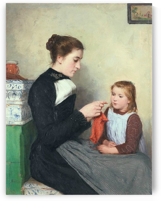 Knitting Bernese woman with child by Anker Albert