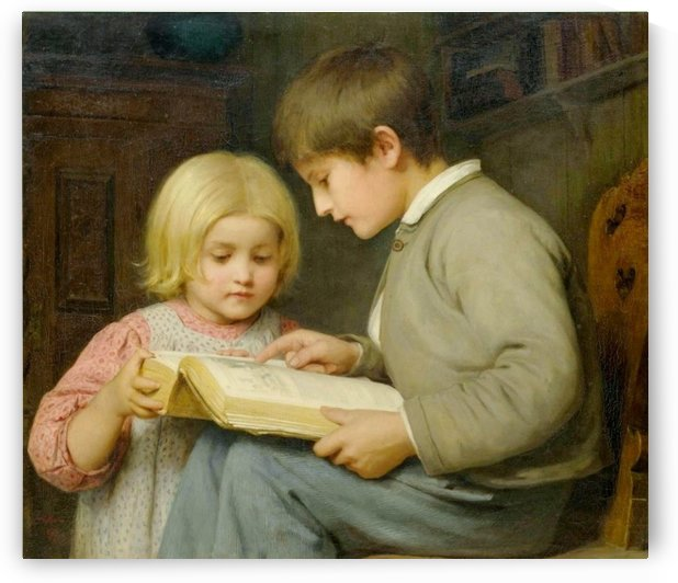 Two brothes reading by Anker Albert