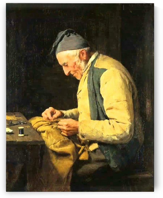 A man sewing by Anker Albert