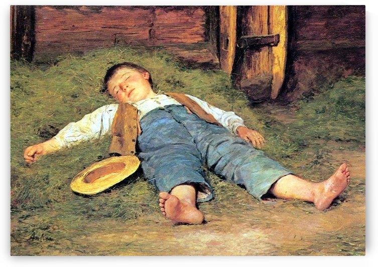 Schlafender Knabe im Heu, 1897 by Anker Albert