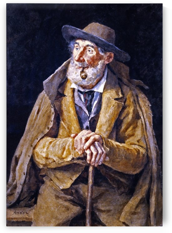A Seated Farmer with a Pipe by Anker Albert