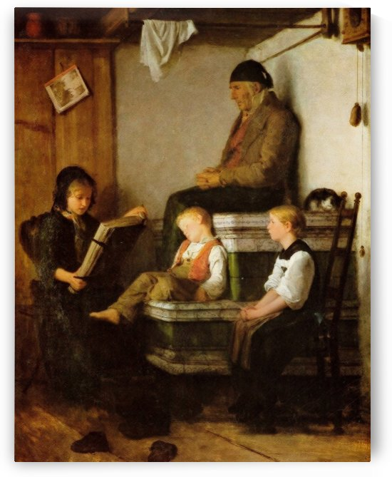 Reading to the family by Anker Albert
