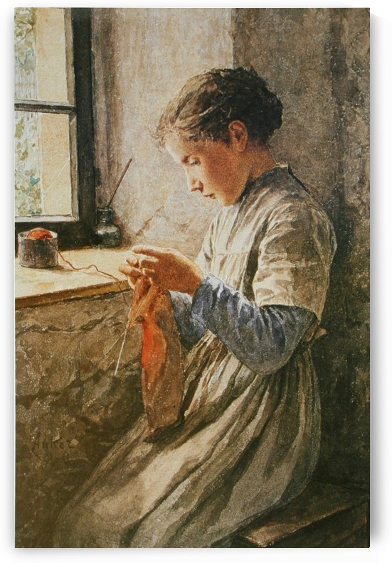 Knitting by the window by Anker Albert