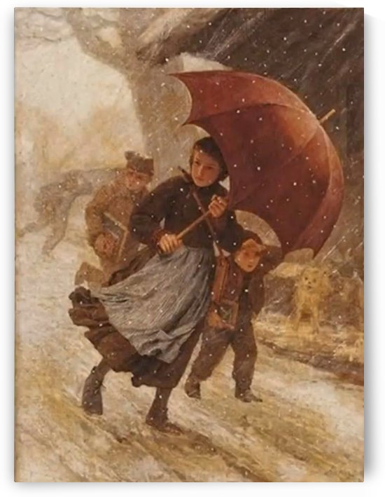A day in the snow by Anker Albert