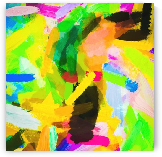 psychedelic splash painting texture abstract in green yellow pink blue by TimmyLA