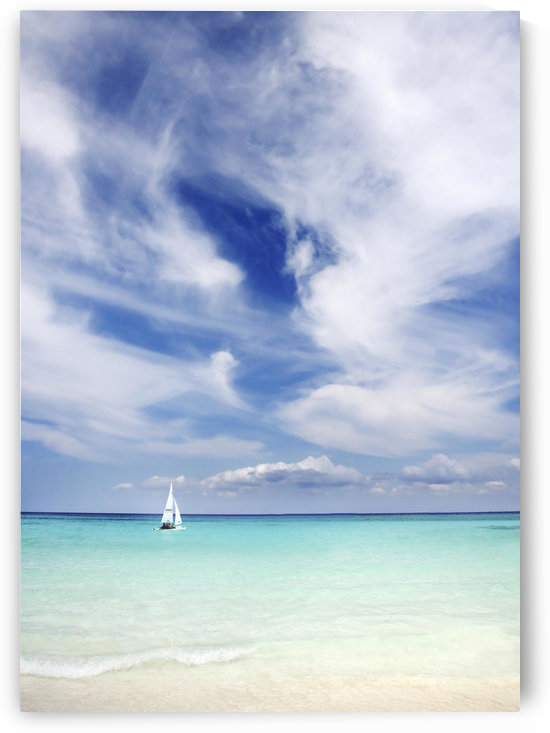 Mexico, Yucatan Peninsula, Sailboat Sailing On Turquoise Water. by PacificStock