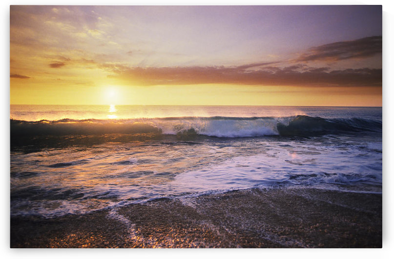 USA, Sunset Illuminates Ocean; Hawaii Islands, Beautiful Wave Crashing On Shoreline by PacificStock