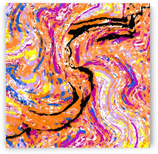 splash painting abstract in pink orange yellow blue and black by TimmyLA
