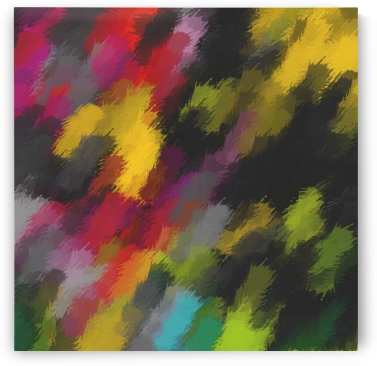camouflage splash painting abstract in red black yellow green blue pink by TimmyLA