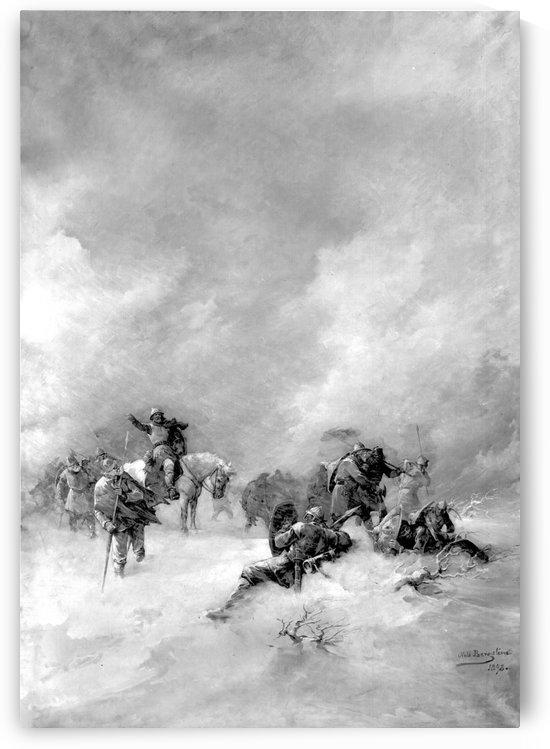A pack of hunters in winter by Nils Nilsen Bergslien