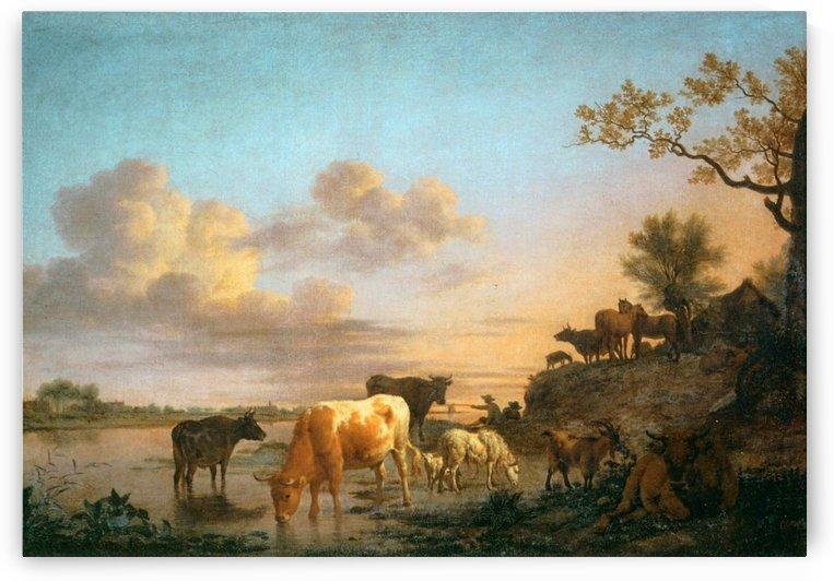 Animals by the river, 1664 by Adriaen van de Velde