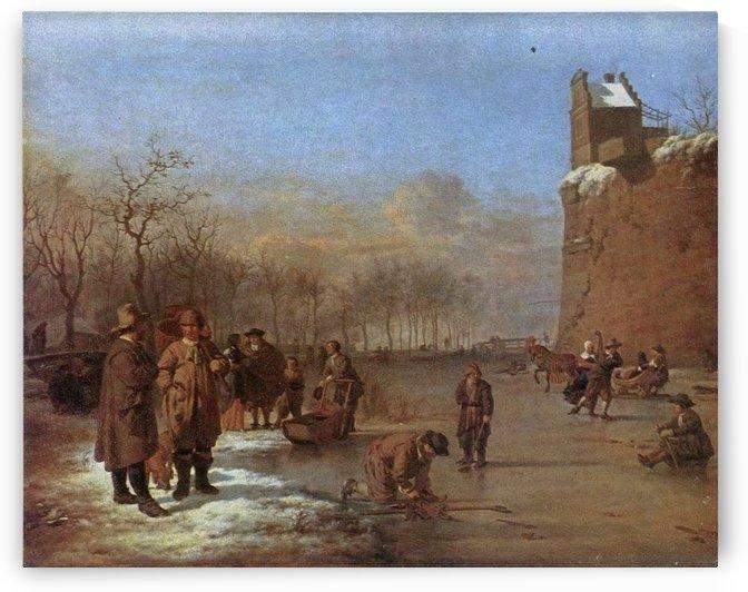 A group of men near a wall by Adriaen van de Velde